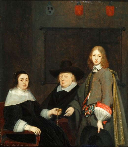 Gerard ter Borch >> Portrait of Anthonie Charles de Liedekercke, his wife Willemina van Braeckel and their son Samuel  |  (Oil, artwork, reproduction, copy, painting).