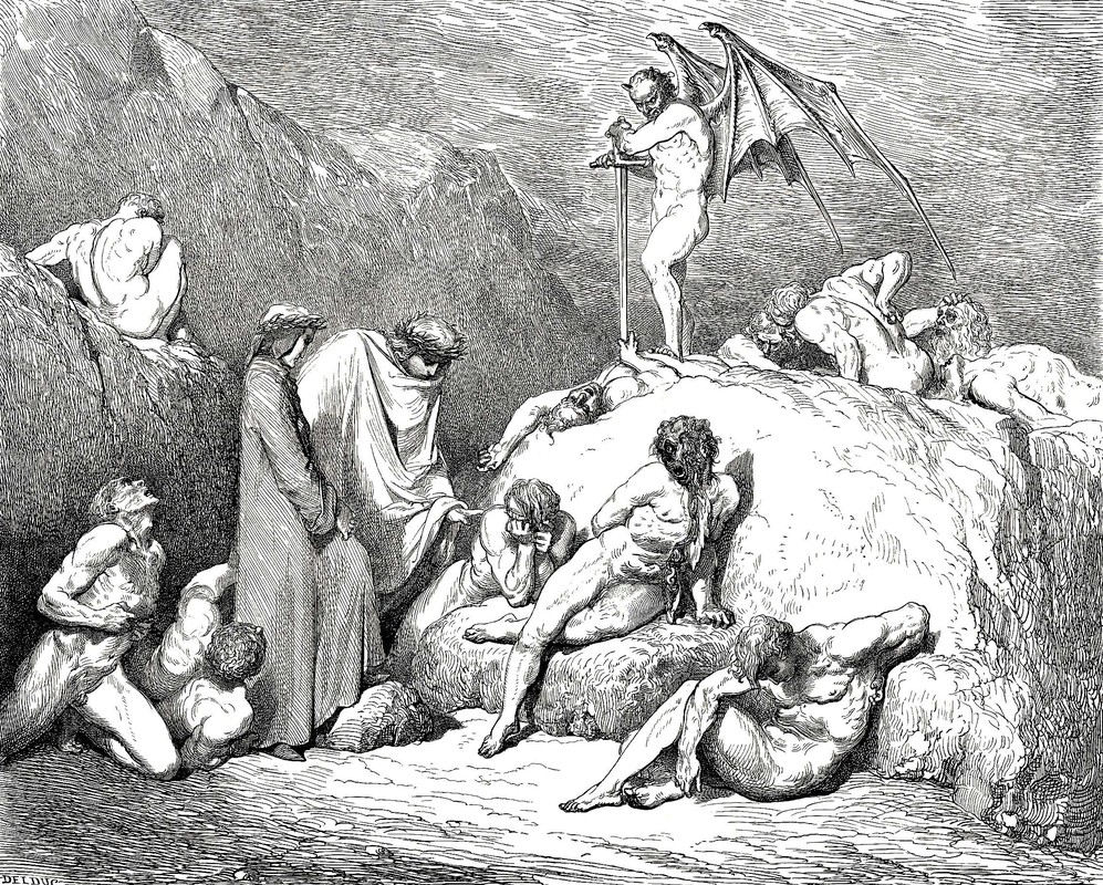 Gustave Doré >> The Inferno, Canto 28, lines 69-72. call thou to mind Piero of Medicina, if again Returning, thou behold'st the pleasant land That from Vercelli slopes to Mercabo;  |  (Engraving, artwork, reproduction, copy, painting).