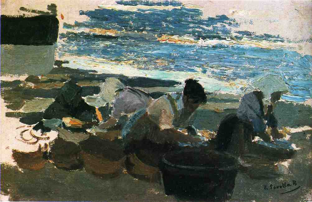Joaquin Sorolla y Bastida >> Washerwomen (sketch)  |  (Oil, artwork, reproduction, copy, painting).