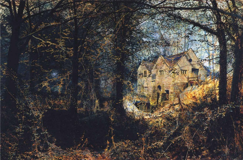 John Atkinson Grimshaw >> Autumn Glory, The Old Mill  |  (Oil, artwork, reproduction, copy, painting).