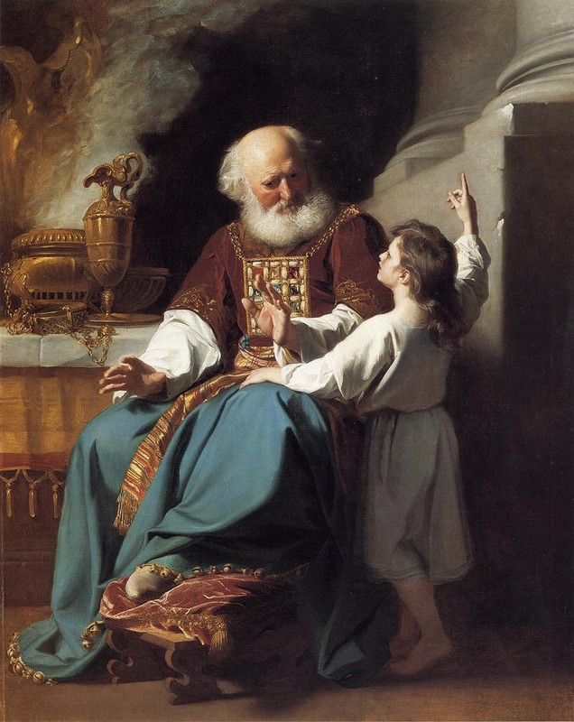 John Singleton Copley >> Samuel Reading to Eli the Judgments of God Upon Eli's House  |  (Oil, artwork, reproduction, copy, painting).