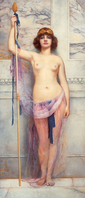 John William Godward >> A Priestess  |  (Oil, artwork, reproduction, copy, painting).