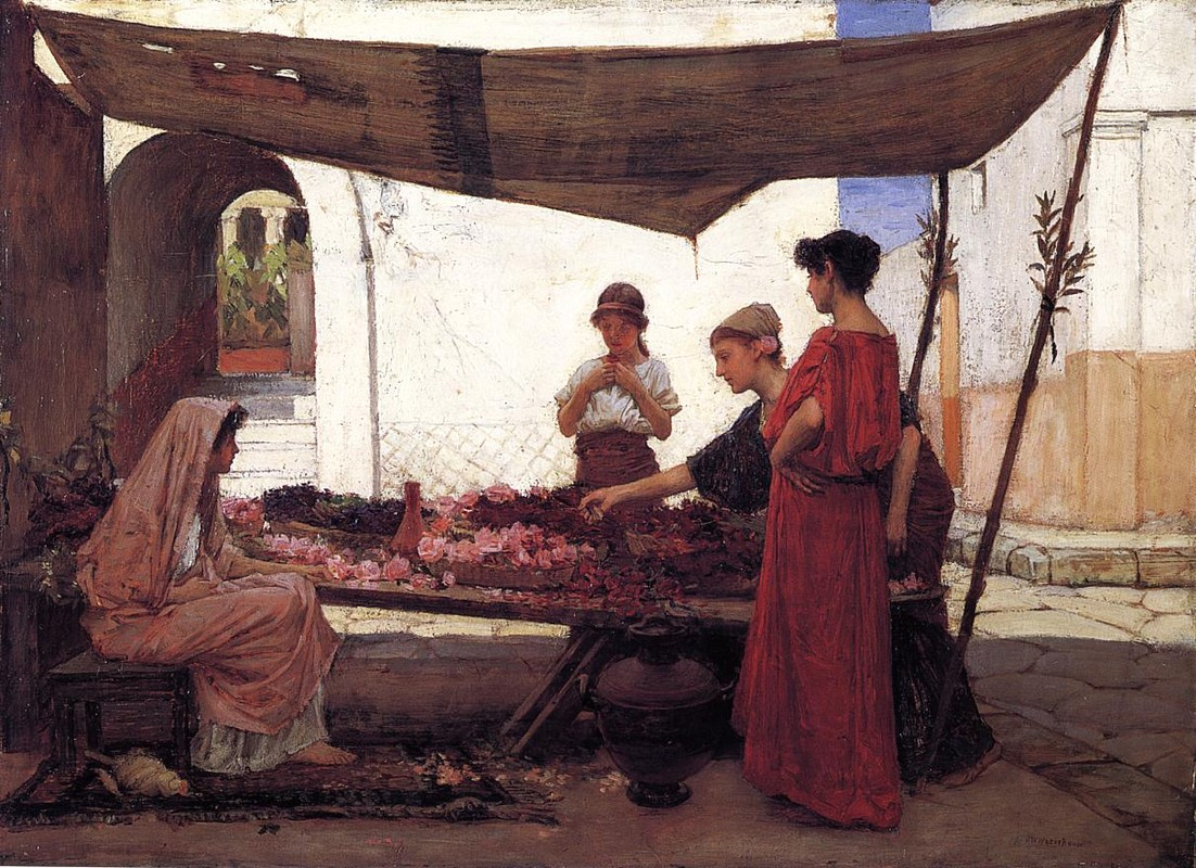 John William Waterhouse >> A grecian flowermarket  |  (Oil, artwork, reproduction, copy, painting).