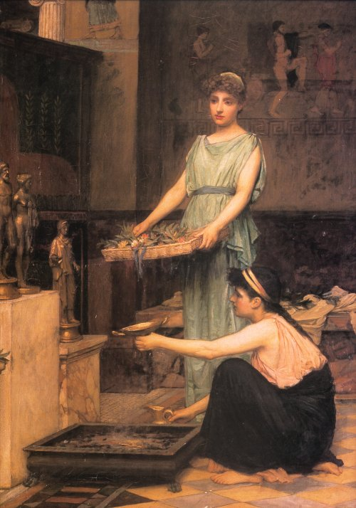 John William Waterhouse >> The household gods  |  (Oil, artwork, reproduction, copy, painting).
