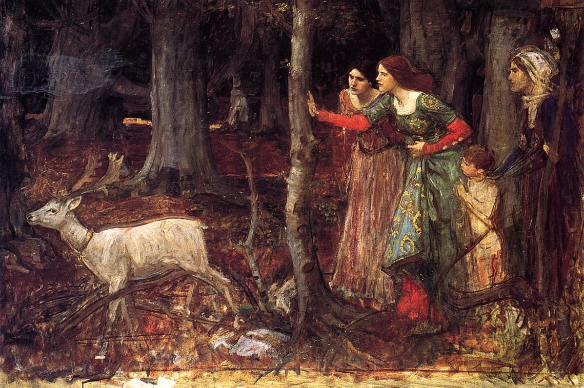 John William Waterhouse >> The Mystic Wood  |  (Oil, artwork, reproduction, copy, painting).