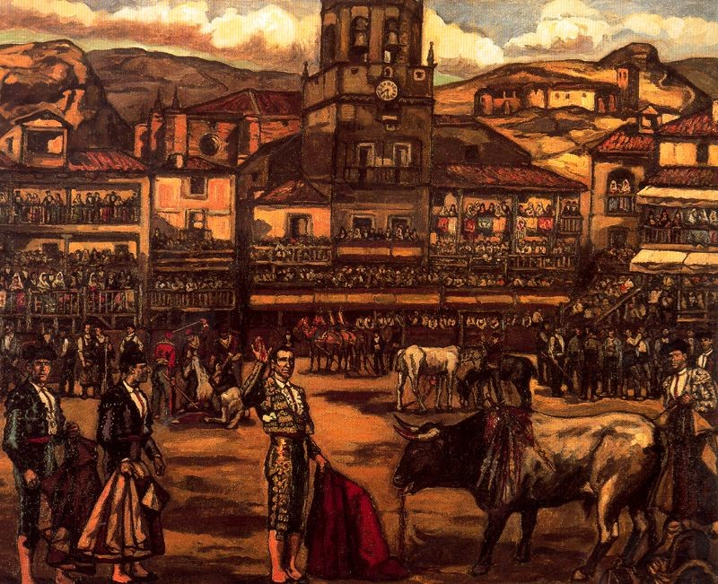 José Gutiérrez Solana >> Capea en Ronda  |  (Oil, artwork, reproduction, copy, painting).