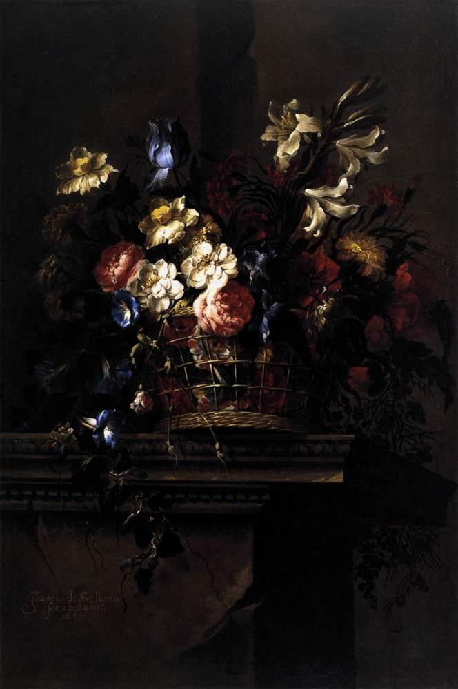 Juan de Arellano - Basket of Flowers on a Plinth