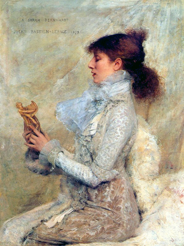 Jules Bastien-Lepage >> Portrait of Sarah Bernhardt  |  (Oil, artwork, reproduction, copy, painting).