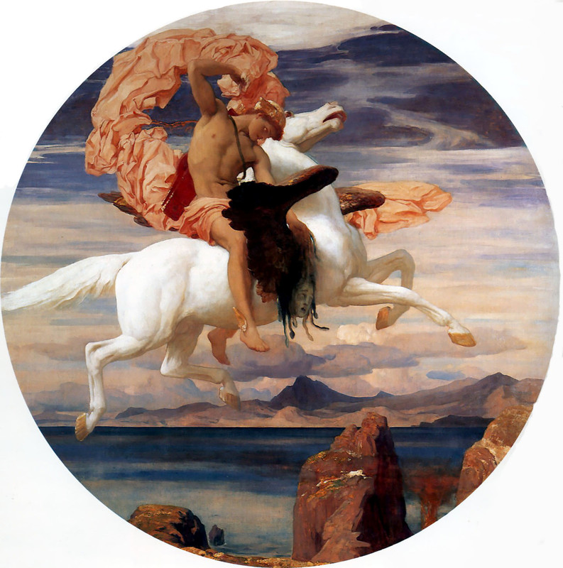 Lord Frederic Leighton >> Perseus on Pegasus Hastening to the Rescue of Andromeda  |  (Oil, artwork, reproduction, copy, painting).