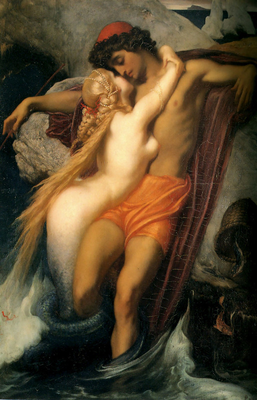 Lord Frederic Leighton >> The Fisherman and the Syren  |  (Oil, artwork, reproduction, copy, painting).
