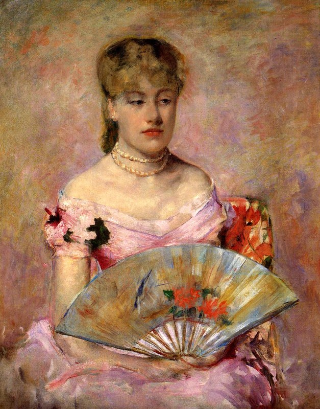 Mary Stevenson Cassatt >> Lady with a Fan aka Portrait of Anne Charlotte Gaillard  |  (Oil, artwork, reproduction, copy, painting).
