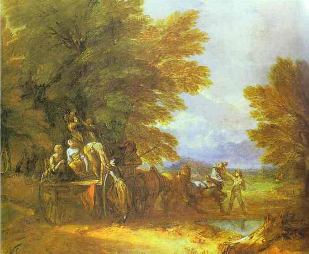 Thomas Gainsborough >> The Harvest Wagon  |  (Oil, artwork, reproduction, copy, painting).