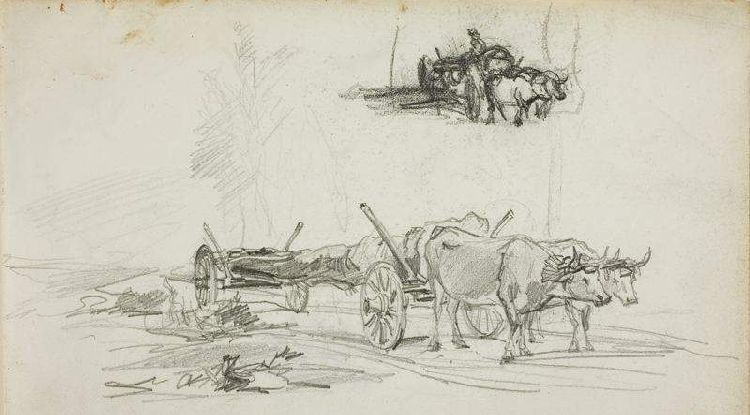 Charles-François Daubigny >> Study, Two Sketches of Oxen Hauling a Log  |  (Oil, artwork, reproduction, copy, painting).