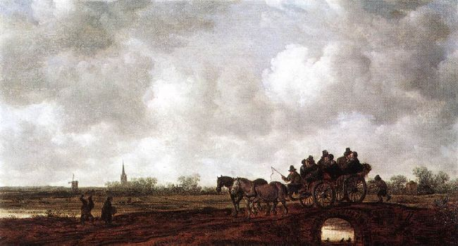 Jan van Goyen >> Horse Cart on a Bridge  |  (Oil, artwork, reproduction, copy, painting).