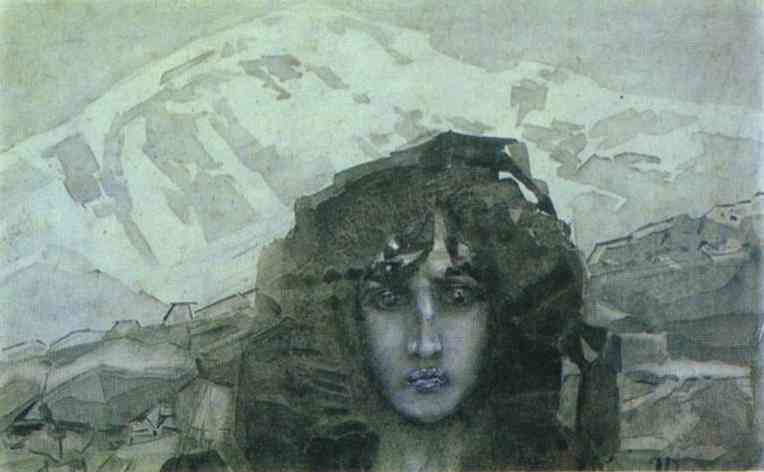 Mikhail Vrubel >> Head of Demon  |  (Oil, artwork, reproduction, copy, painting).