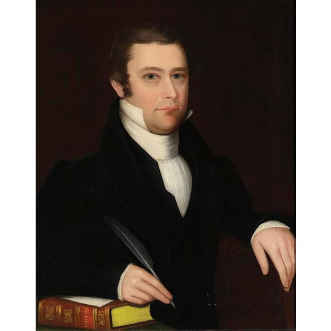 Ammi Phillips >> PORTRAIT OF A DARK-HAIRED GENTLEMAN WITH PEN AND BIBLE  |  (Oil, artwork, reproduction, copy, painting).