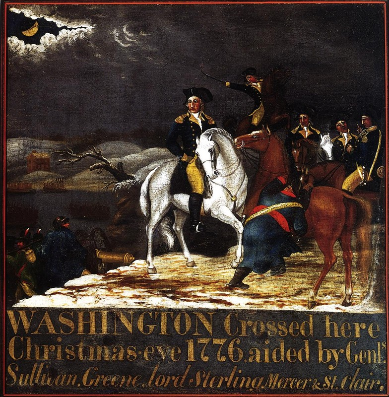 Edward Hicks >> Washington at the Deleware  |  (Oil, artwork, reproduction, copy, painting).