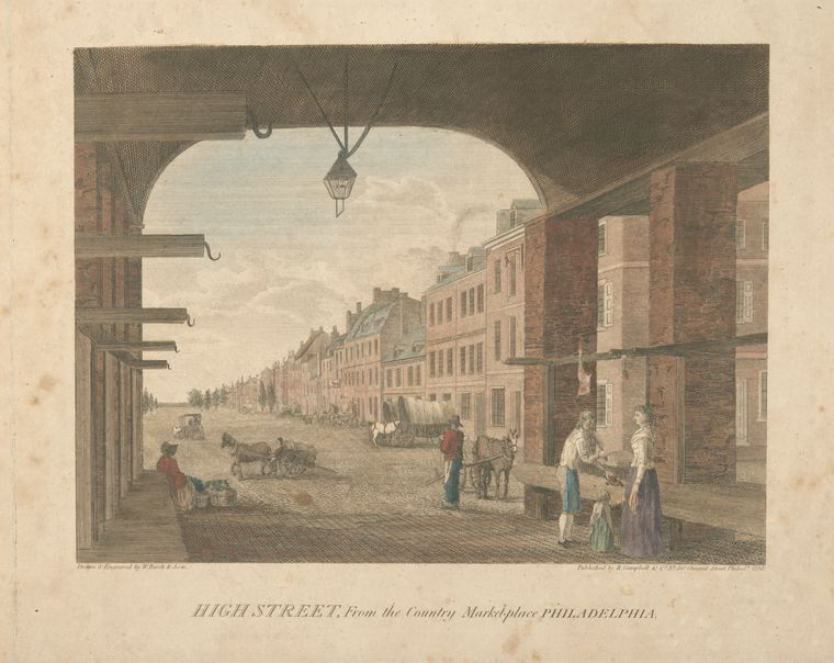 Thomas Birch >> High Street, from the country marketplace Philadelphia. with the procession in commemoration of the death of General George Washington  |  (Oil, artwork, reproduction, copy, painting).