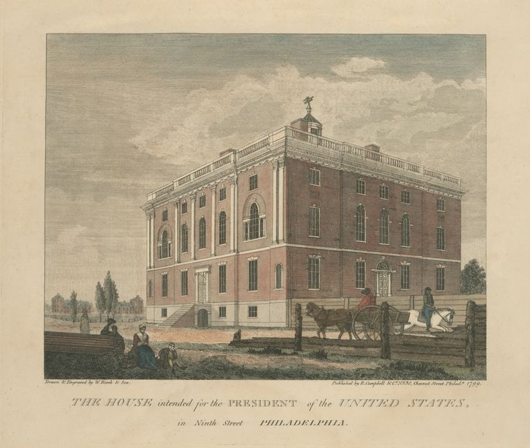 Thomas Birch >> The house intended for the President of the United States, in Ninth Street Philadelphia  |  (Oil, artwork, reproduction, copy, painting).