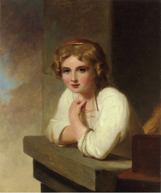Thomas sully >> peasant girl (after rembrandt's young girl leaning on