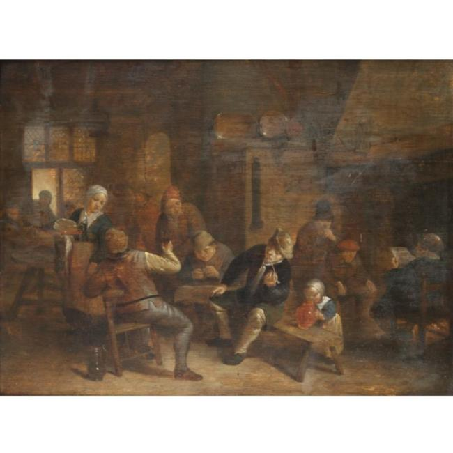 Adriaen van Ostade >> A Tavern Interior With Boors Smoking And Drinking  |  (Oil, artwork, reproduction, copy, painting).