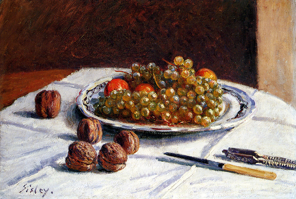 Alfred Sisley >> Grapes And Walnuts On A Table  |  (Oil, artwork, reproduction, copy, painting).