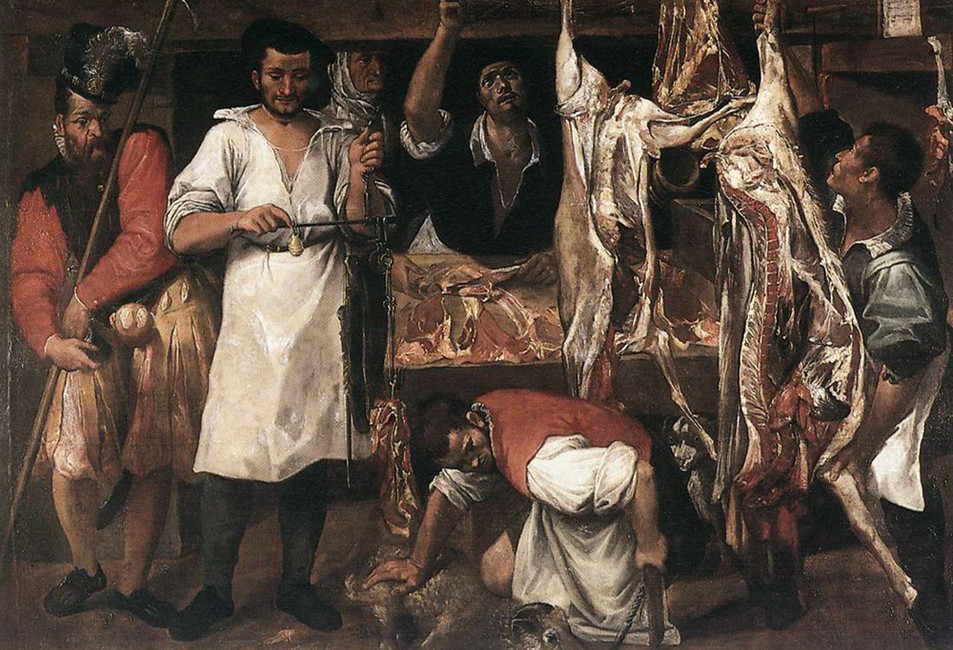 Annibale Carracci >> Butcher's Shop  |  (Oil, artwork, reproduction, copy, painting).