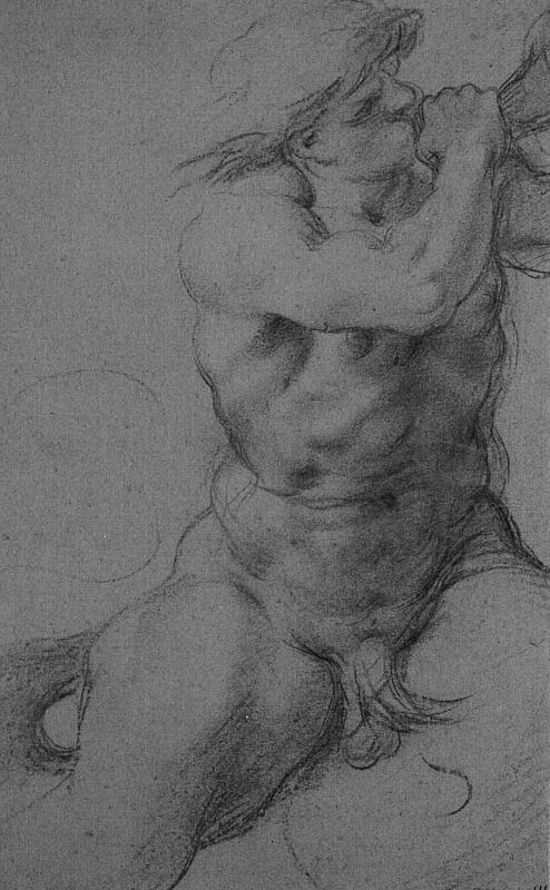 Annibale Carracci >> Triton Sounding a Conch Shell, black chalk on paper  |  (Drawing, artwork, reproduction, copy, painting).