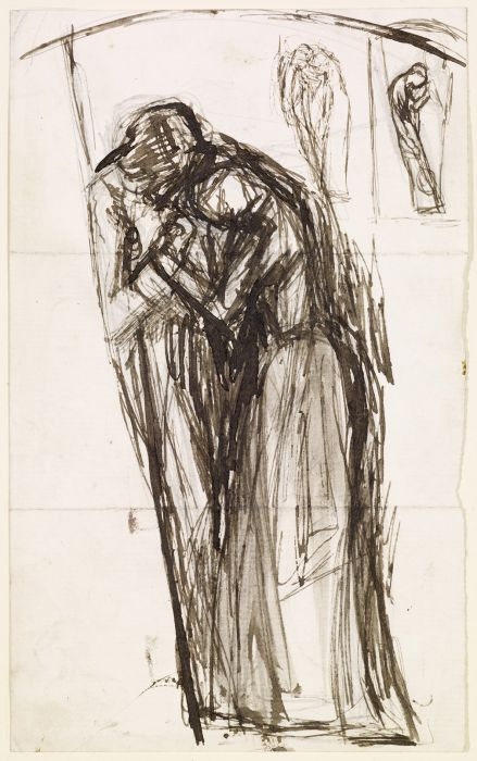 Arthur Hughes >> Sketch of Two Figures  |  (Drawing, artwork, reproduction, copy, painting).