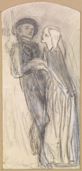 Arthur Hughes >> The Long Engagement - Sketch  |  (Drawing, artwork, reproduction, copy, painting).