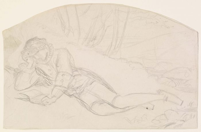 Arthur Hughes >> The Young Poet (Sketch)  |  (Drawing, artwork, reproduction, copy, painting).