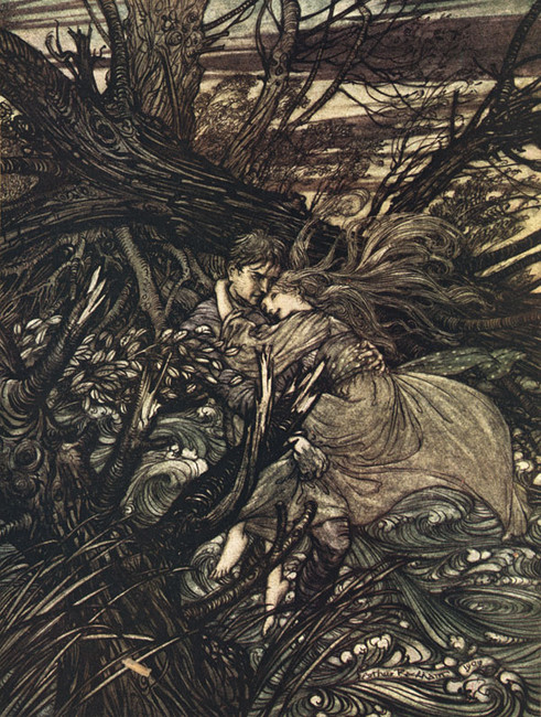 Arthur Rackham >> The Knight took the beautiful girl in his arms and bore her over the narrow space where the stream had divided her little island from the shore  |  (Illustration, artwork, reproduction, copy, painting).