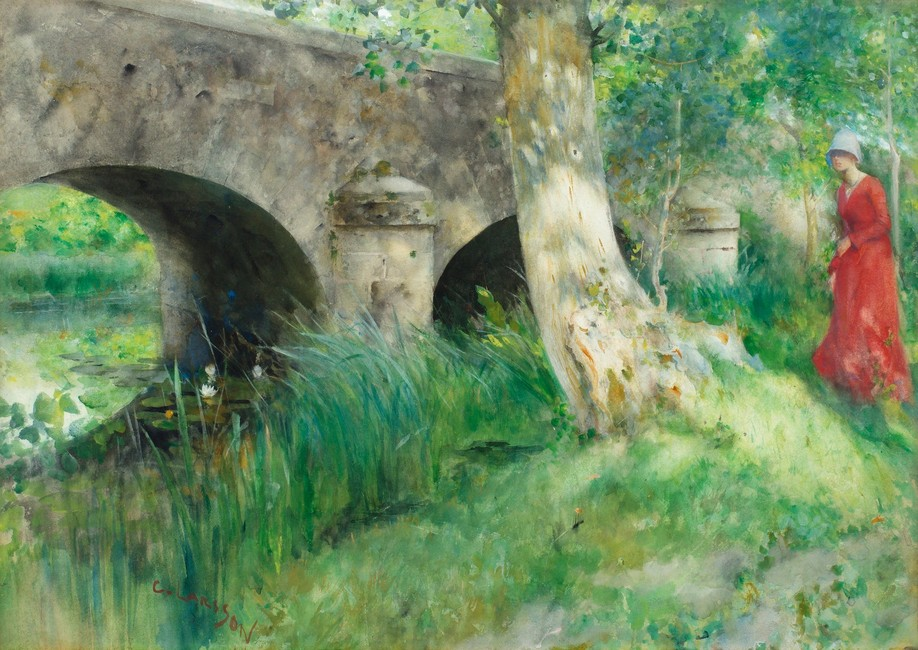 Carl larsson >> the bridge in grez | (oil, artwork, reproduction, copy