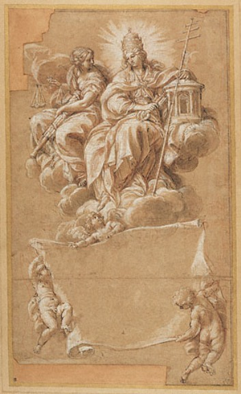 Carlo Maratta >> Faith and Justice Enthroned  |  (Drawing, artwork, reproduction, copy, painting).