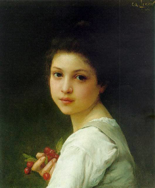 Charles Amable Lenoir >> Portrait of a young girl with cherries  |  (Oil, artwork, reproduction, copy, painting).