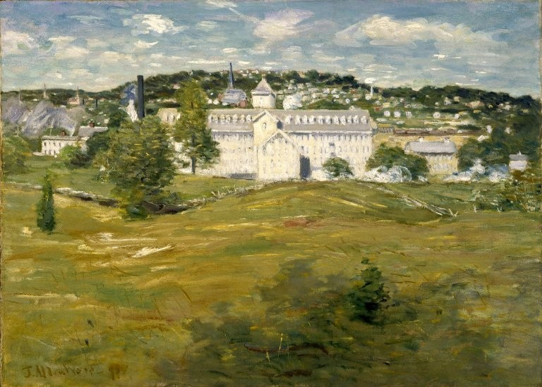 Julian Alden Weir >> Willimantic Thread Factory  |  (Oil, artwork, reproduction, copy, painting).