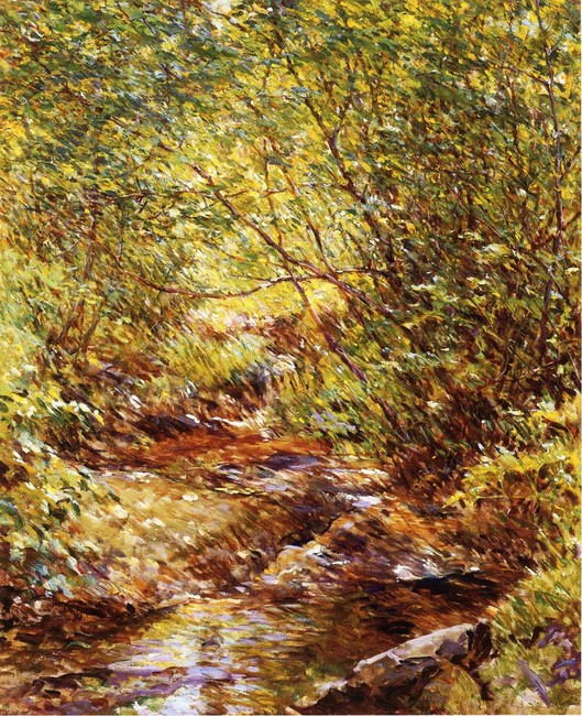 Robert Lewis Reid >> A Woodland Stream  |  (Oil, artwork, reproduction, copy, painting).