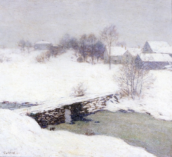 Willard Leroy Metcalf >> The White Mantle  |  (Watercolor, artwork, reproduction, copy, painting).