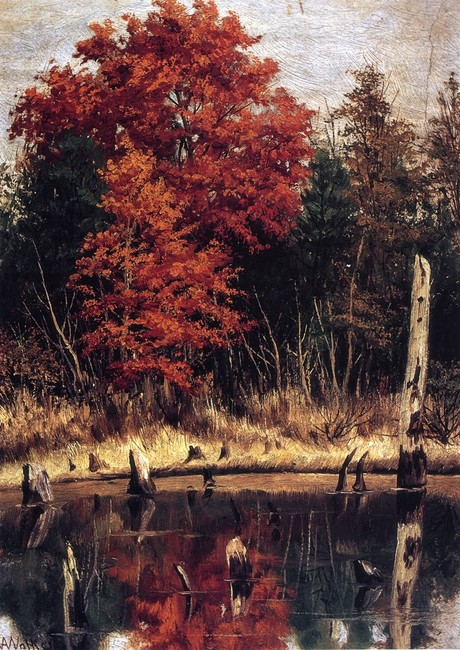 William Aiken Walker >> Autumn Wood In North Carolina With Tree Stumps In Water  |  (Oil, artwork, reproduction, copy, painting).