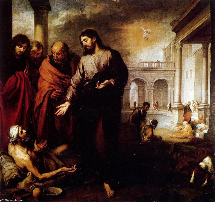 Bartolome Esteban Murillo >> Curación del paralítico en la piscina probatica  |  (Oil, artwork, reproduction, copy, painting).
