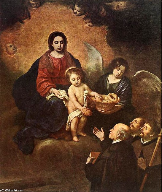 Bartolome Esteban Murillo >> El niño Jesús repartiendo pan a los peregrinos  |  (Oil, artwork, reproduction, copy, painting).
