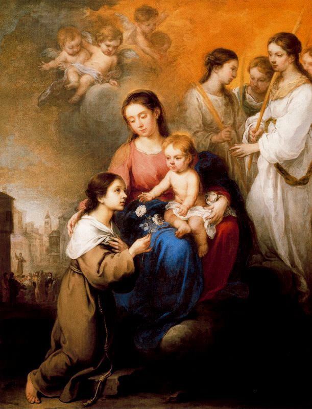 Bartolome Esteban Murillo >> La Virgen y el niño con Santa Rosalía de Palermo  |  (Oil, artwork, reproduction, copy, painting).