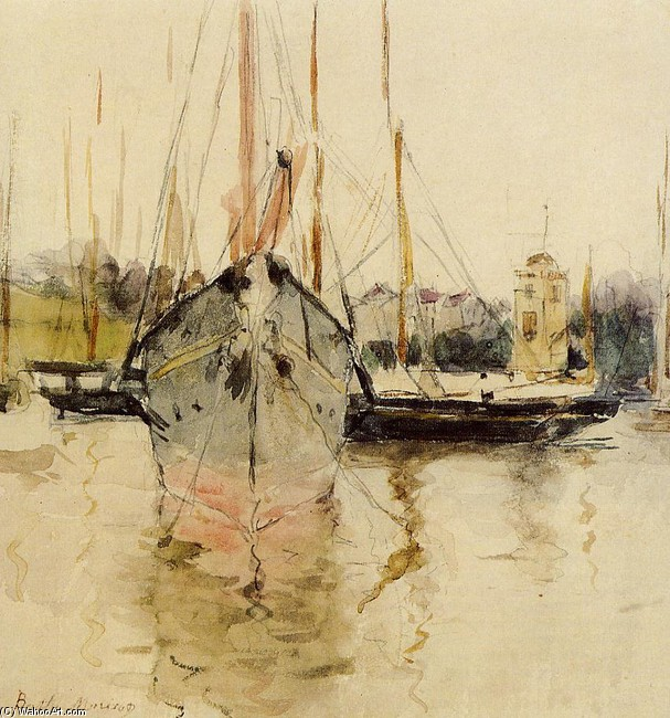 Berthe Morisot >> Boats - Entry to the Medina in the Isle of Wight (aka pugad baboy)  |  (Watercolor, artwork, reproduction, copy, painting).