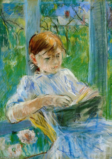 Berthe Morisot >> Portrait of the Artist's Daughter, Julie Manet, at Gorey  |  (Drawing, artwork, reproduction, copy, painting).