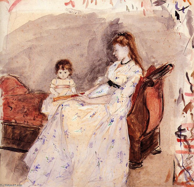 Berthe Morisot >> The Artist's Sister Edma with Her Daughter Jeanne  |  (Watercolor, artwork, reproduction, copy, painting).