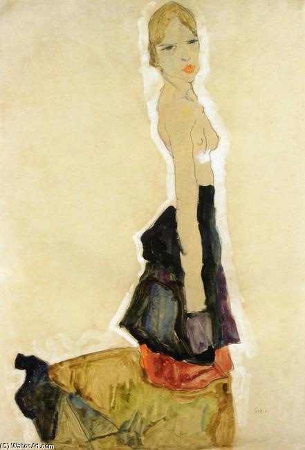 Egon Schiele >> Kneeling Semi-Nude