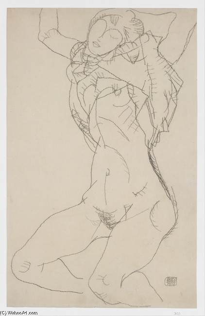 Egon Schiele >> Reclining Semi-Nude with Arms Raised