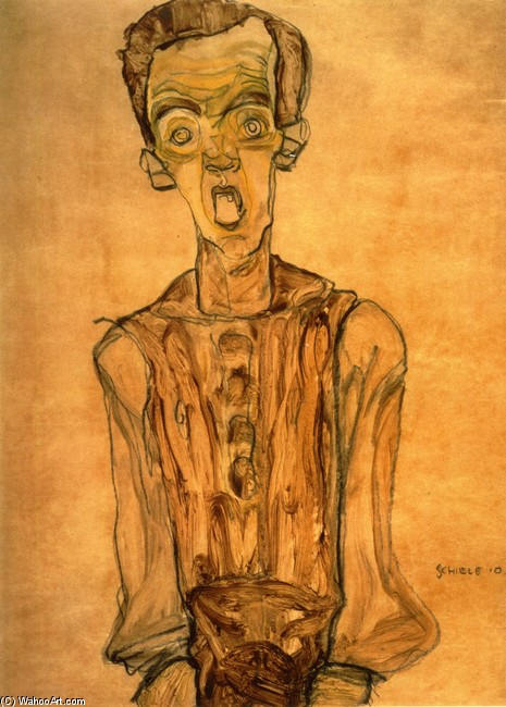 Egon Schiele >> Self Portrait 5  |  (Watercolor, artwork, reproduction, copy, painting).