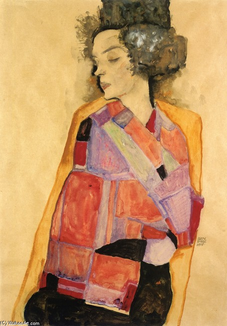 Egon Schiele >> The Daydreamer (Gerti Schiele)  |  (Watercolor, artwork, reproduction, copy, painting).