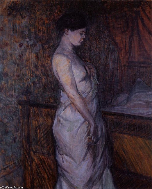Henri De Toulouse-Lautrec >> Woman in a Chemise Standing by a Bed (aka Madame Poupoule)  |  (Oil, artwork, reproduction, copy, painting).